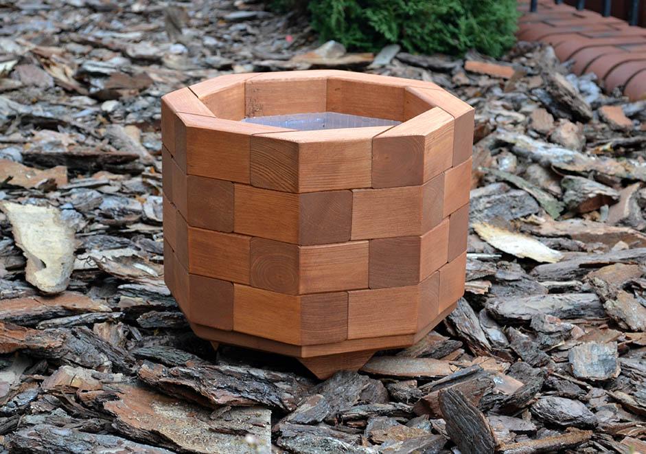 Wooden Garden Small Octagonal Flower Pot 30cm 30cm
